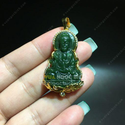 Mặt Dây Chuyền Phật Bà Quan Âm Ngọc Bích Bọc Vàng (MD023)