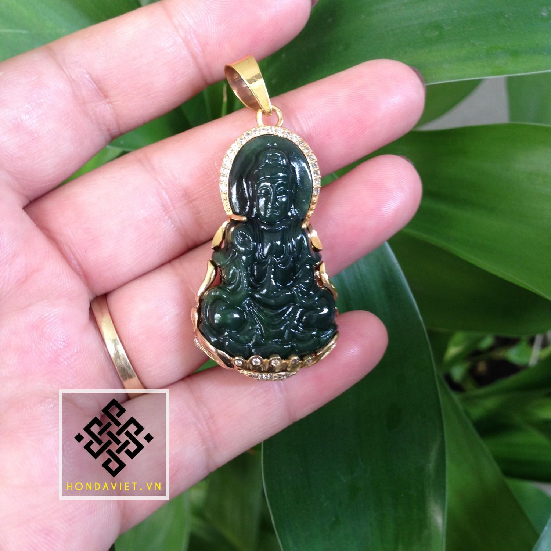 Mặt Dây Chuyền Phật Bà Quan Âm Ngọc Bích (MD023) - 1