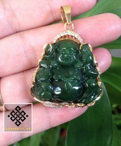 Mặt Dây Chuyền Phật Di Lặc Ngọc Bích Bọc Vàng (MD024) - 1