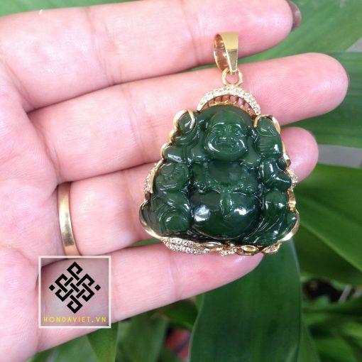 Mặt Dây Chuyền Phật Di Lặc Ngọc Bích Bọc Vàng (MD024)