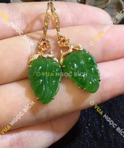 Bông Tai Ngọc Bích Chiếc Lá (BT011)
