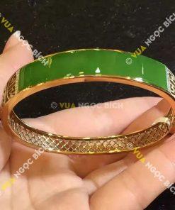 Lắc Tay Vàng Bọc Ngọc Bích Nephrite Jade (VT010)