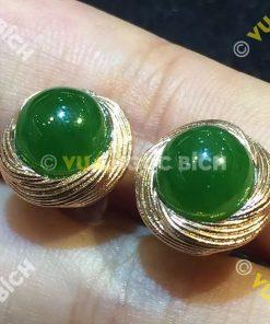Bông Tai Ngọc Bích Nephrite Jade (BT015)