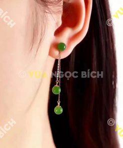 Bông Tai Ngọc Bích Nephrite Jade (BT019)