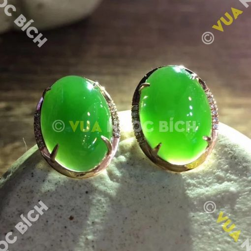 Bông Tai Ngọc Bích Nephrite Jade (BT024)