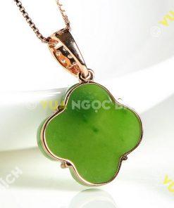 Mặt Dây Cỏ Bốn Lá Ngọc Bích Nephrite Jade (MD028)