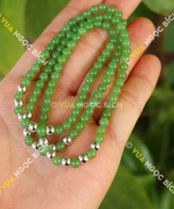 Chuỗi Hạt Vòng Ngọc Bích Nephrite Jade 6mm mix charm Bạc (VT009)