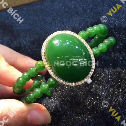 Lắc Tay Vàng Ngọc Bích Nephrite Jade (VT025)
