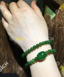 Vòng Tay Ngọc Bích Nephrite Jade 6mm Mix Lu Thống Ngọc Bích (VT014)