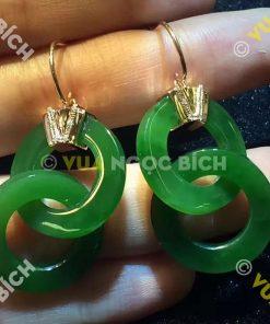 Bông Tai Ngọc Bích Nephrite Jade (BT025)