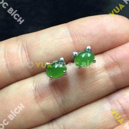 Bông Tai Ngọc Bích Nephrite Jade (BT028)