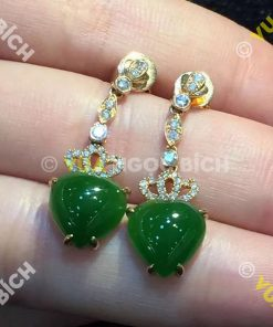 Bông Tai Ngọc Bích Nephrite Jade (BT029)