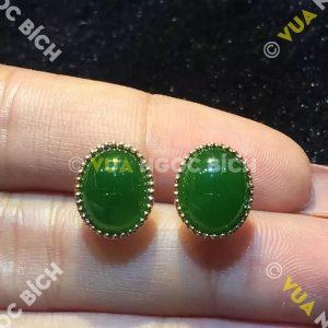 Bông Tai Ngọc Bích Nephrite Jade (BT040)
