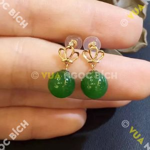 Bông Tai Ngọc Bích Nephrite Jade (BT042)
