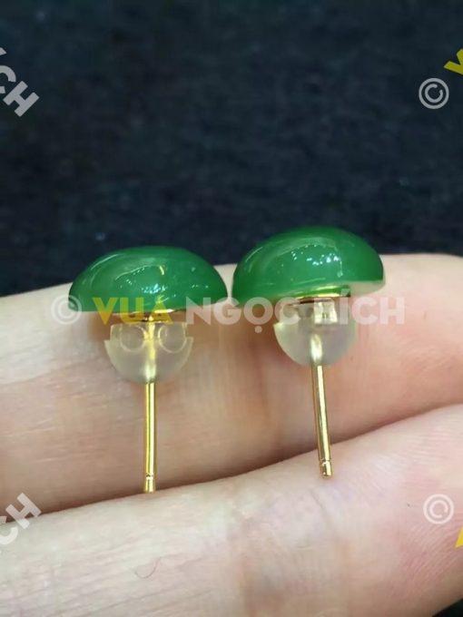 Bông Tai Ngọc Bích Nephrite Jade (BT043)