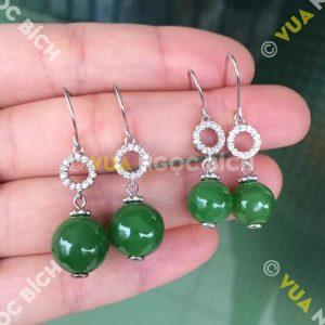 Bông Tai Ngọc Bích Nephrite Jade (BT044)