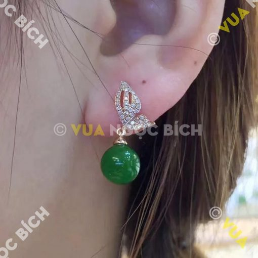 Bông Tai Ngọc Bích Nephrite Jade (BT045)
