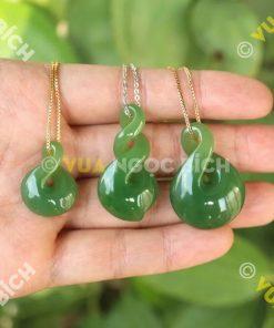 Mặt Dây Nút Thắt Vô Tận Ngọc Bích Nephrite Jade (MD041)