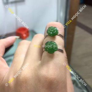 Nhẫn Hoa Mẫu Đơn Ngọc Bích Nephrite Jade (NN039)