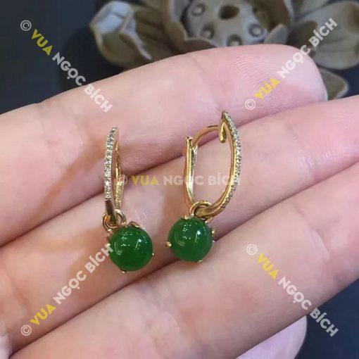 Bông Tai Ngọc Bích Nephrite Jade (BT050)