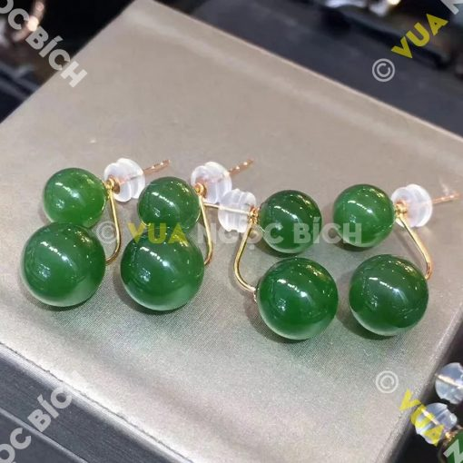 Bông Tai Ngọc Bích Nephrite Jade (BT051)