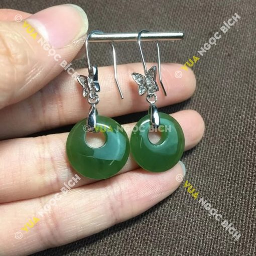Bông Tai Ngọc Bích Nephrite Jade (BT053)