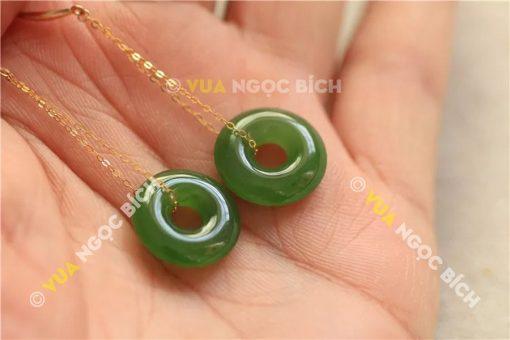 Bông Tai Ngọc Bích Nephrite Jade (BT054)