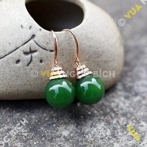 Bông Tai Ngọc Bích Nephrite Jade (BT055)