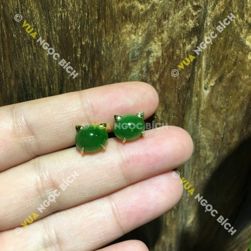 Bông Tai Ngọc Bích Nephrite Jade (BT059)