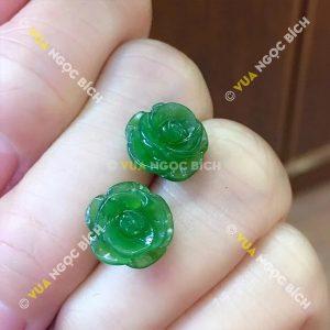 Bông tai HoA mẫu Đơn Ngọc Bích Nephrite Jade (BT065)