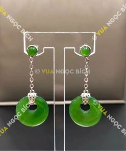 Bông Tai Ngọc Bích Nephrite Jade (BT070)