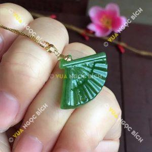 Mặt dây Hình Quạt Ngọc Bích Nephrite Jade (MD083)