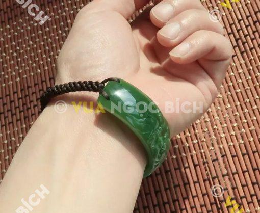 Vòng Tay Ngọc Bích Nephrite Jade Mix Dây Dù (VT019)