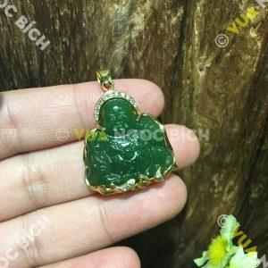 Mặt Dây Phật Di Lạc Ngọc Bích Nephrite Jade Bọc Vàng (MD099)