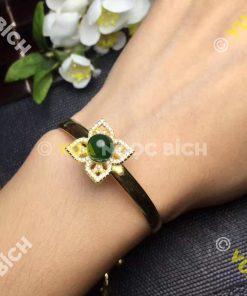 Lắc Tay Vàng Mặt Đá Ngọc Bích Nephrite Jade (VT038)