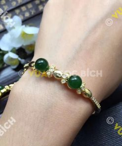 Lắc Tay Vàng Mặt Đá Ngọc Bích Nephrite Jade (VT039)