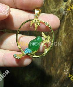 Mặt Dây Chim Ngọc Bích Nephrite Jade Bọc Vàng (MD100)