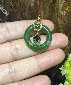 Mặt Dây Ngọc Bích Nephrite Jade Mix Mặt Đá Tourmaline (MD105)