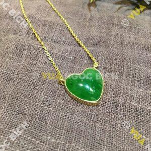 Trái Tim Ngọc Bích Nephrite Jade Bọc Vàng (MD104)