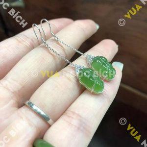 Bông Tai Chiếc Lá Ngọc Bích Nephrite Jade (BT073)
