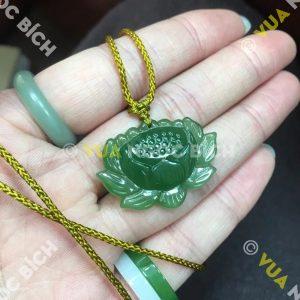 Mặt Dây Hoa Sen Ngọc Bích Nephrite Jade (MD110)