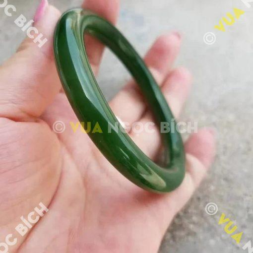Vòng Tay Ngọc Bích Nephrite Jade Bản Liền (VT032)