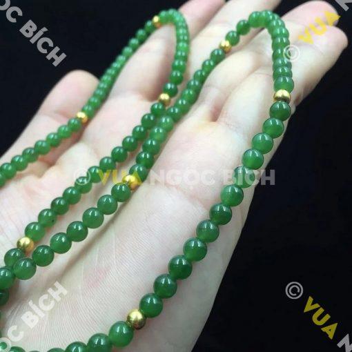 Vòng Tay Ngọc Bích Nephrite Jade 6mm Mix Charm Vàng (VT025)