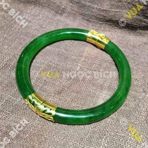 Vòng Tay Ngọc Bích Nephrite Jade Bản Liền Bọc Vàng (VT034)