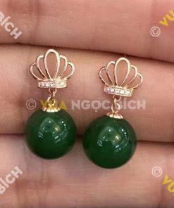 Bông Tai Ngọc Bích Nephrite Jade (BT092)