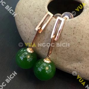 Bông Tai Ngọc Bích Nephrite Jade (BT096)