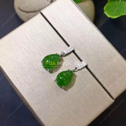 Bông Tai Ngọc Bích Nephrite Jade (BT101)