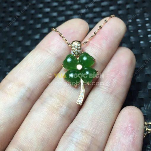 Mặt Dây Cỏ Bốn Lá Ngọc Bích Nephrite Jade (MD165)