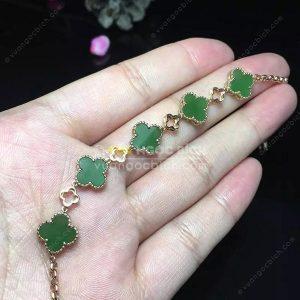Vòng Tay Cỏ Bốn Lá Ngọc Bích Nephrite Jade (VT066)