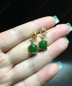 Bông Tai Ngọc Bích Nephrite Jade (BT103)